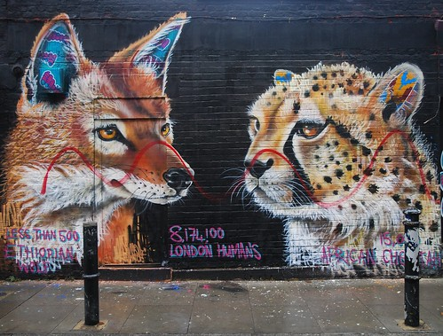 Graffiti (Masai), Hanbury Street, London, England.
