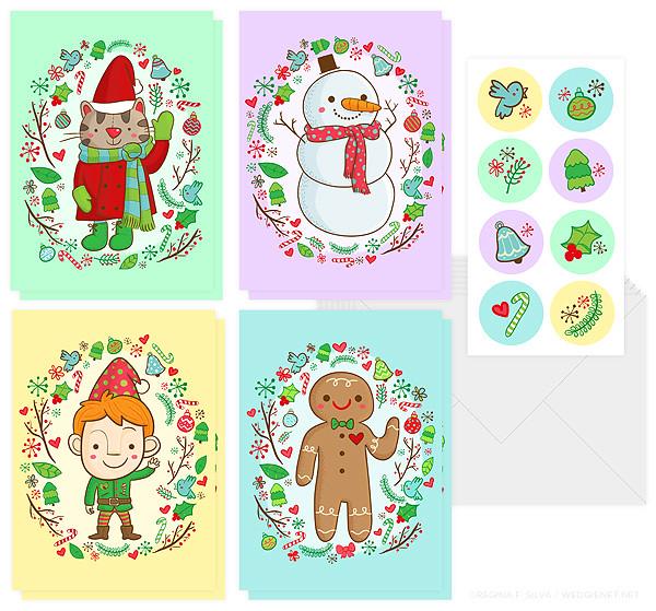 Holiday boxed gift cards mockup