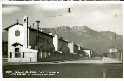 postcard - bolzano - via milano - semirurali - chiesetta don bosco