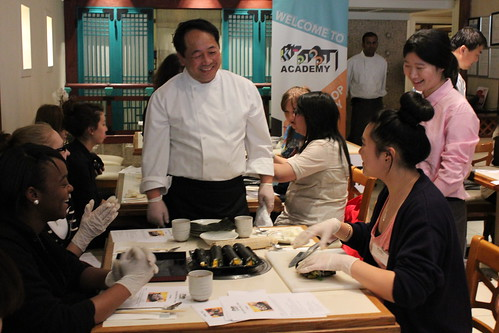 Chef Goh talks with the students