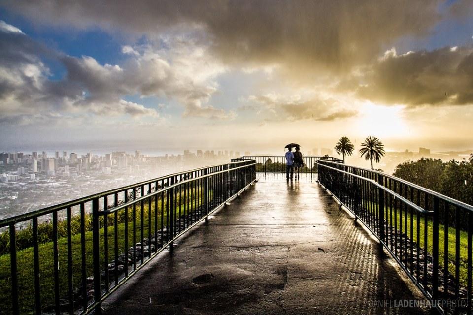 Couple in Honolulu Rain