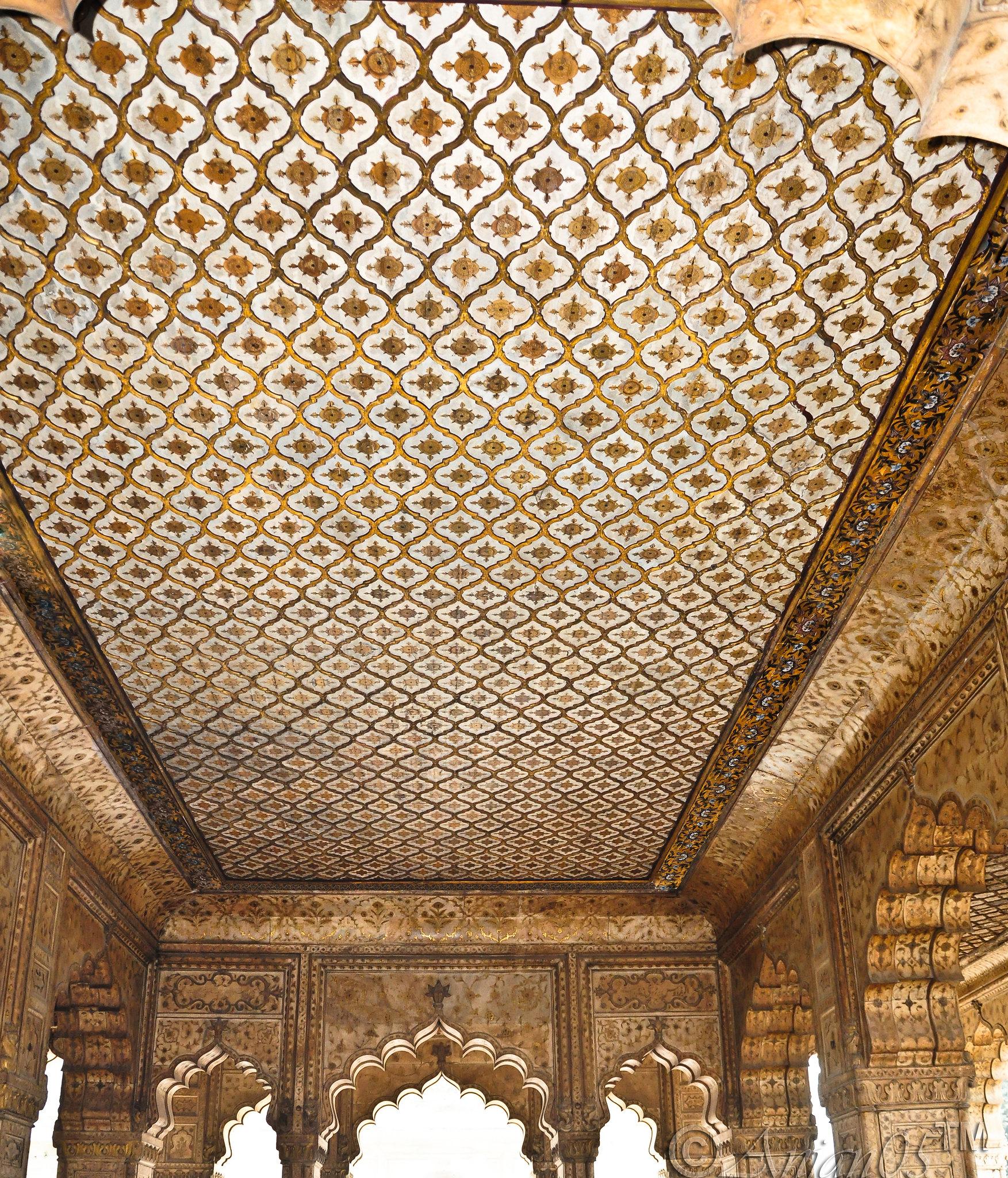 Walls & Ceilings inside Diwan-i-Khas - Red Fort -Delhi - India