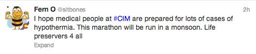 I hope CIM medical folks are prepared for lots of folks with hypothermia today