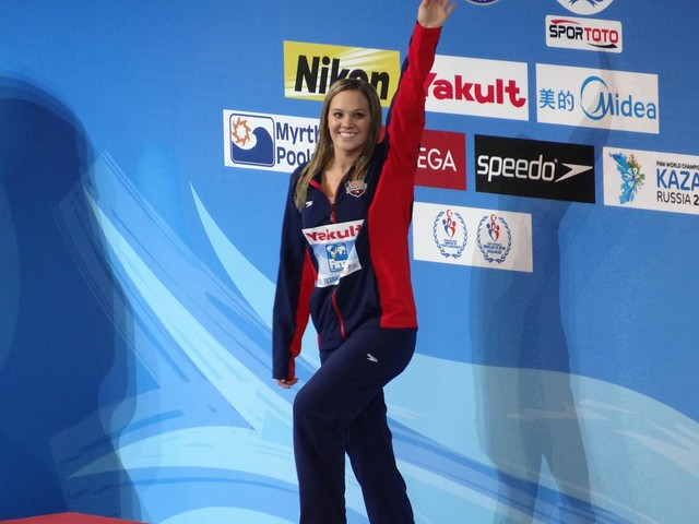 Chloe Sutton on the Istanbul 2012 medal podium