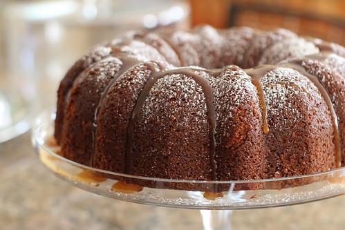 spiced bundt cake with caramel sauce