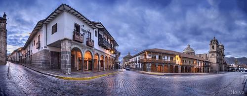 Plaza de Armas at dusk, Cuzco, Peru