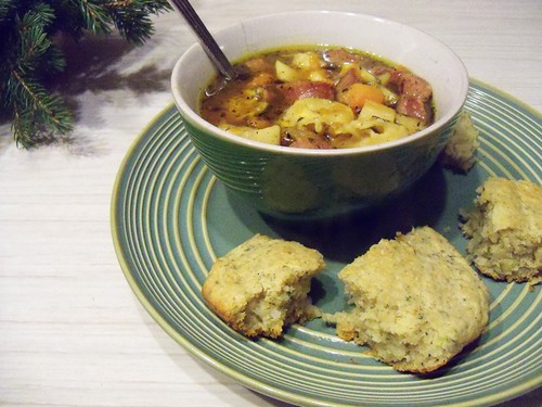 sausage apple soup and cheesy bread