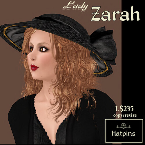 Lady Zarah Hat - Black