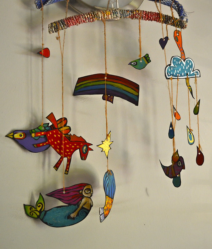 handpainted mobile in Ginger's room