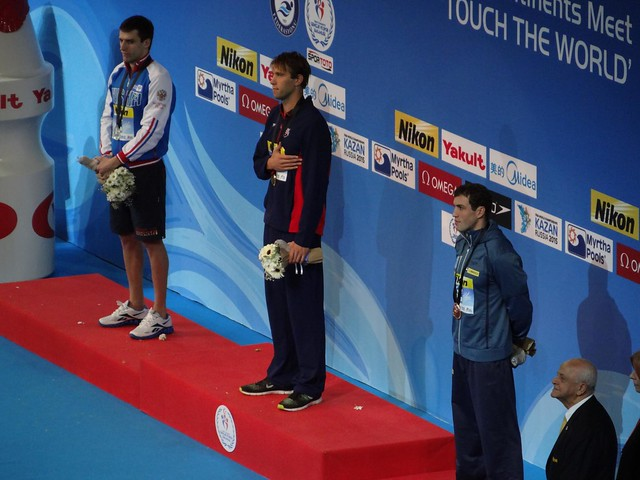 The Istanbul 2010 men's 100 back medal podium