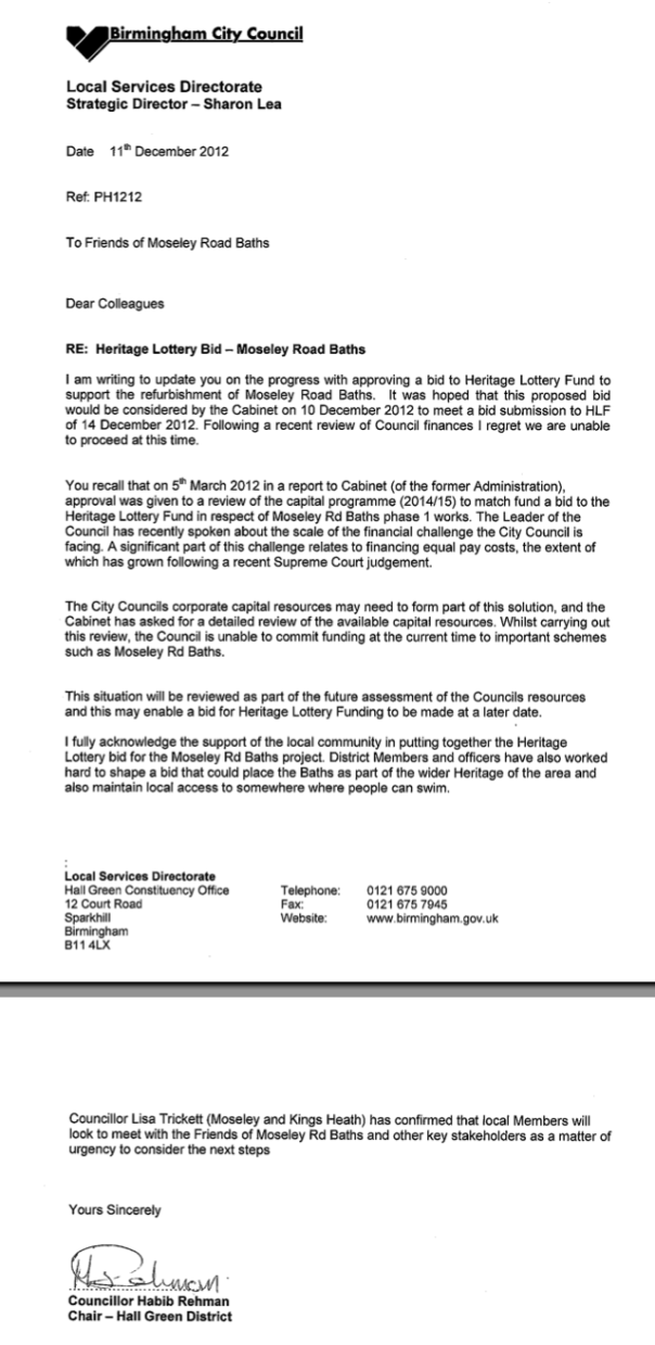 Letter from Council re. HLF bid - 11/12/12