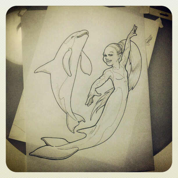 Final inkings #merkingdom coloring book. #killerwhale