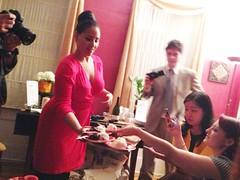 Our hostess serving dessert. Note the Chilean TV crew off to the right and left, who were interviewing attendees.