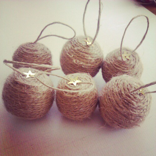 Twine baubles. #makingchristmasdecorations