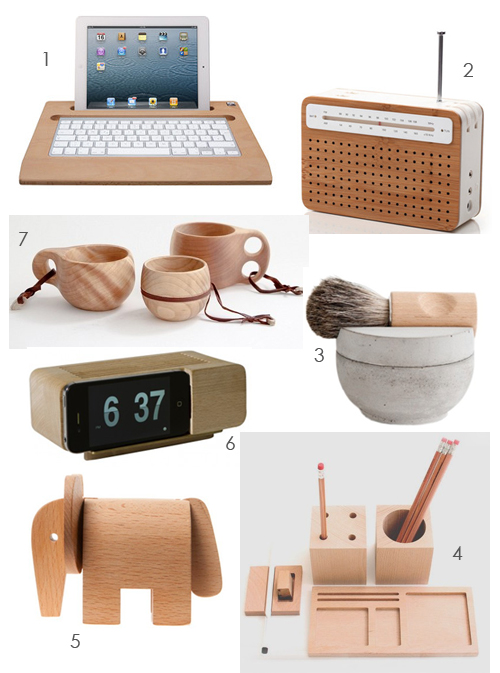 today s gift guide offers suggestions for gifts made from wood i love