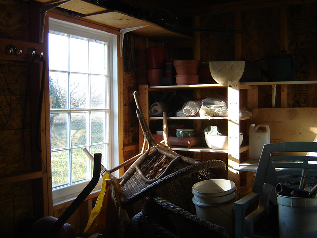 shed interior with strong light through window