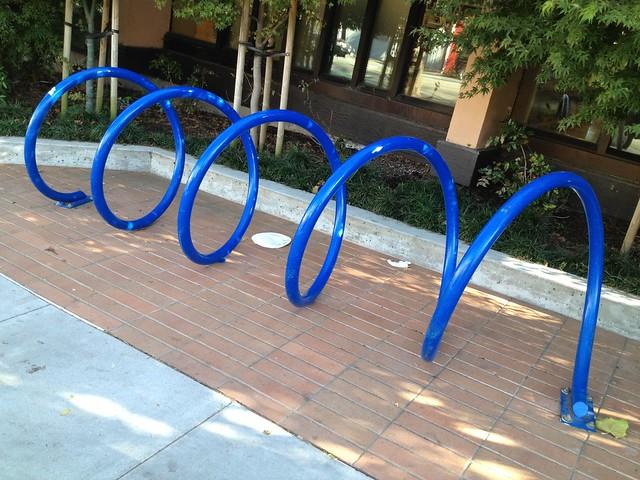Blue spiral bike rack