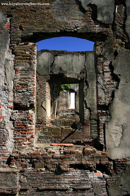 windows of the old convent ruins in paoay ilocos norte