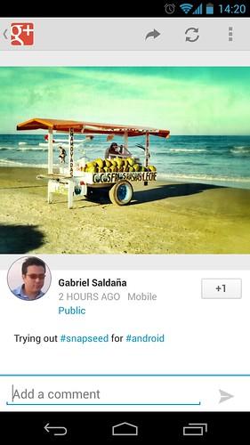Google plus post via snapseed