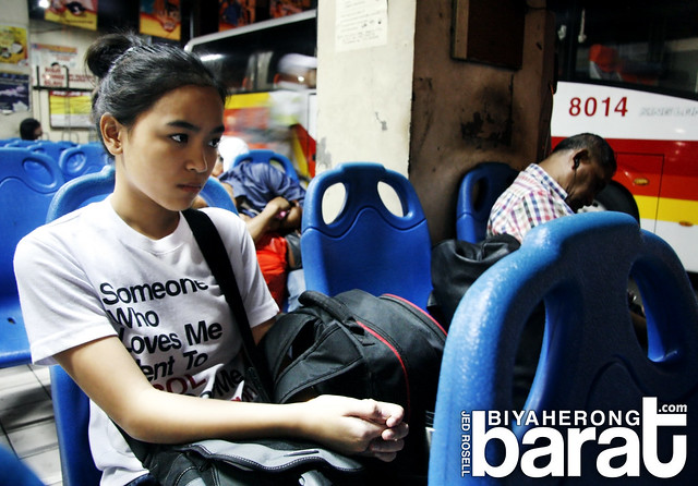 Bebeng waiting for her bus ride in Victory Liner Terminal