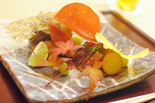 grilled barracuda and unagi, sweet potato, mushrooms