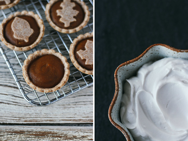 Mini pumpkin pies and coconut whipped cream