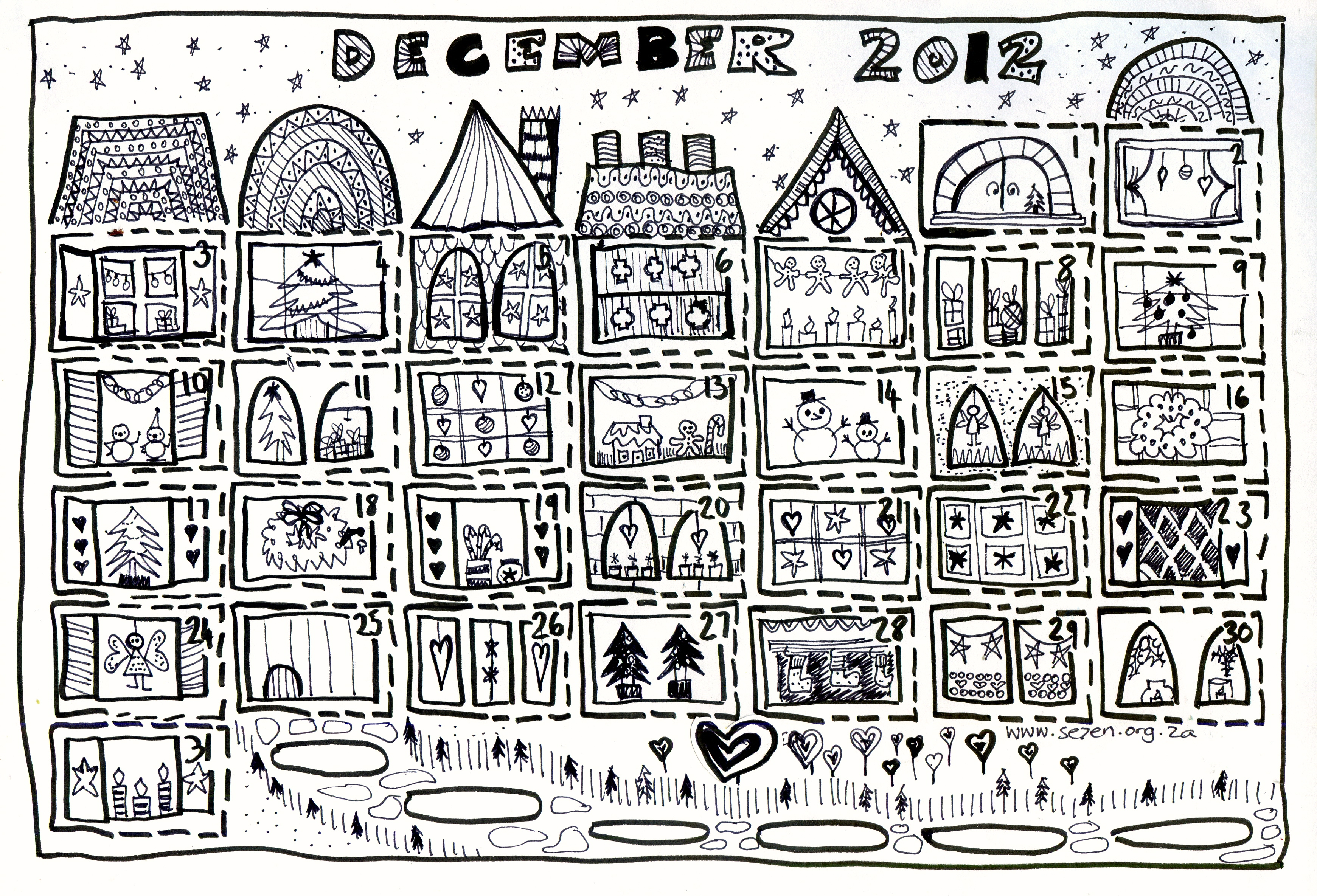 Free Printable Advent Calendar Coloring Page