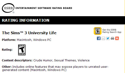 ESRB rates University life