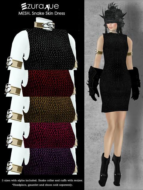 ezura + MESH . Snake Skin Dress