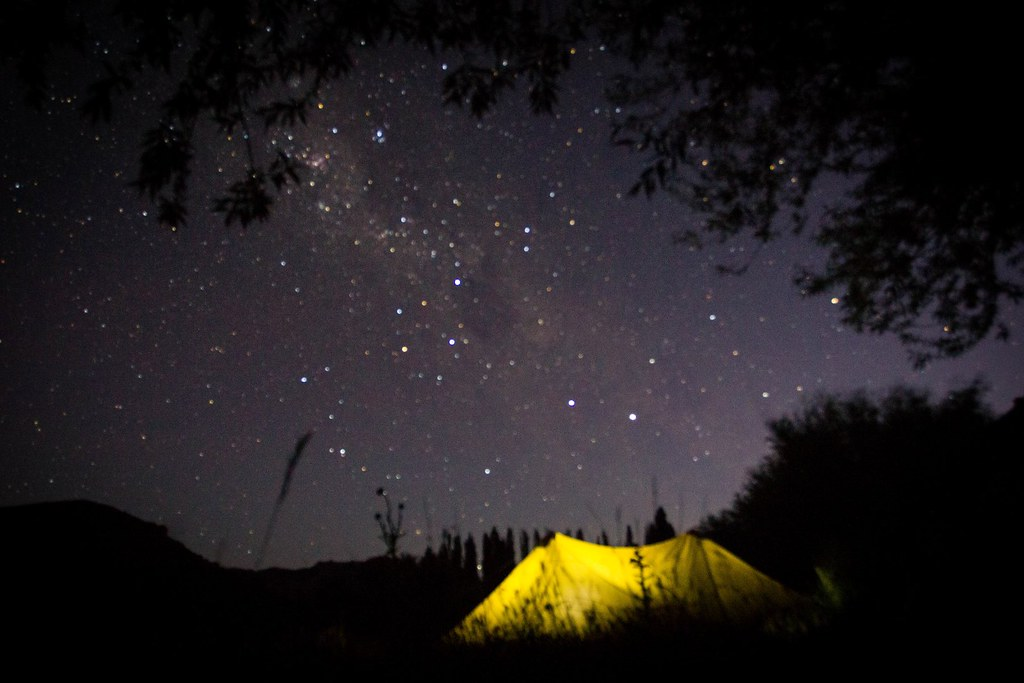 The milky way on a Patagonian summer's night. Bivaouc along Rio Limay. Patagonia, Argentina