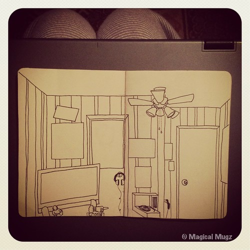 The Sketchbook Project 2013 - Maggie's Room without Wood Panel