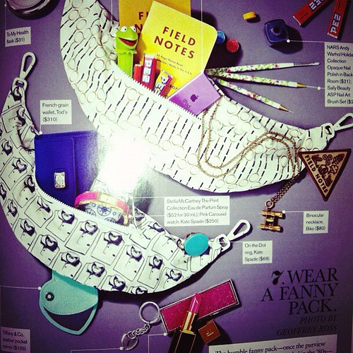 Jan edition of @ellecanada has the Lacoste fanny pack xD the spread is so playful it kind of makes me want one...