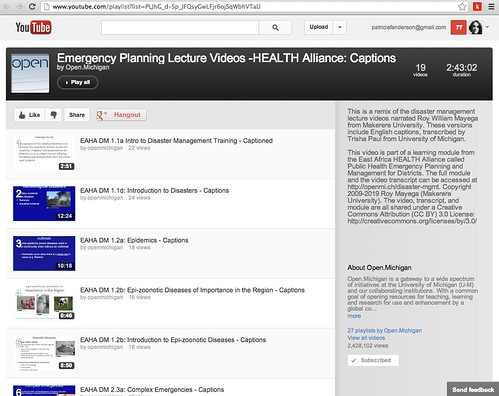 Open Michigan: Emergency Planning Lecture Videos -HEALTH Alliance: Captions