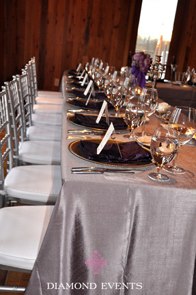 Head table silver gray purple primland linens wedding reception diamond events florist designer