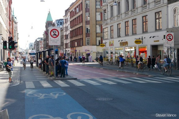 Nørrebrogade - a narrow street with bus-only lanes for some portion