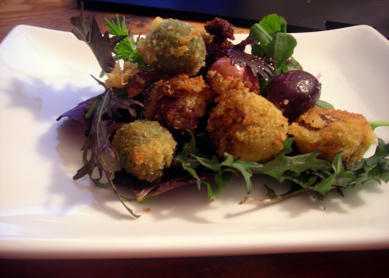 Fried olives (side view)