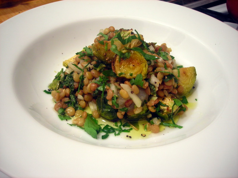 Lentil and roasted brussels sprouts salad