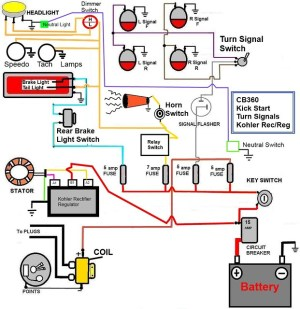CB360 Simplified Wiring Diagram WKick start only, signals, Check it out