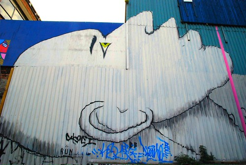 Graffiti (Run), Shoreditch, East London, England.