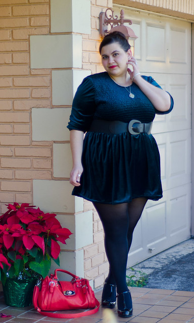 Velvet Dress, Black Tights, Blowfish Shoes