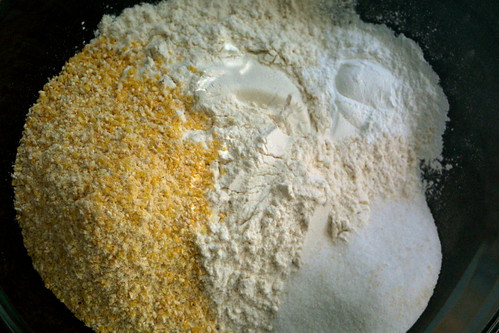 Cornmeal, flour, baking powder, sugar