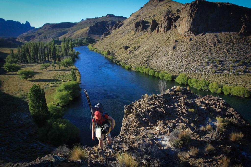 January. Packrafting Rio Limay. Patagonia. Argentina.
