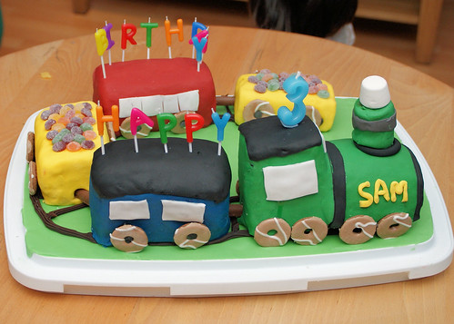Magnificent Sams Third Birthday Train Cake Tales Of Pigling Bland Funny Birthday Cards Online Inifodamsfinfo