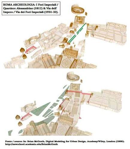 ROMA ARCHEOLOGIA: I Fori Imperiali / Quartiere Alessandrino (1812) & Via dell' Impero / Via dei Fori Imperiali (1931-33). by Martin G. Conde