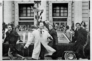 Secret Service Guard Nixon Limo Against Rocks: Inauguration 1973