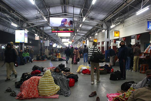 Agra train station at midnight