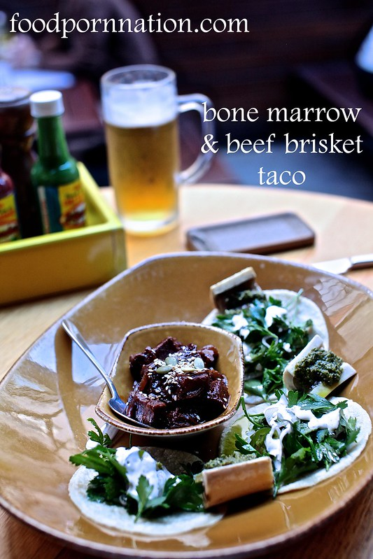 bone marrow & beef brisket taco