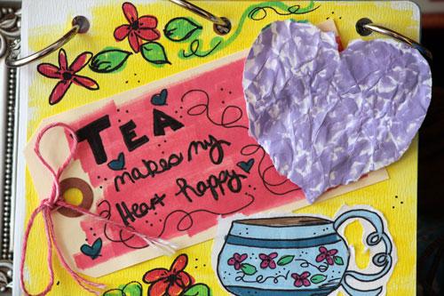 Art Journal: Tea Makes Me Happy. Mixed Media