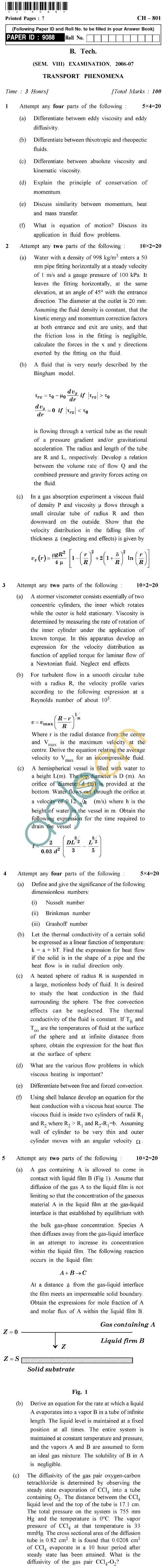UPTU B.Tech Question Papers - CH-801 - Transport Phenomena