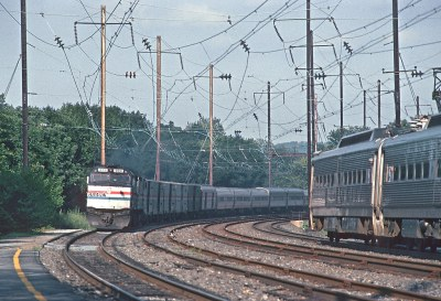 The Broadway Limited at Downingtown, PA in 1992 -- 2 Photos